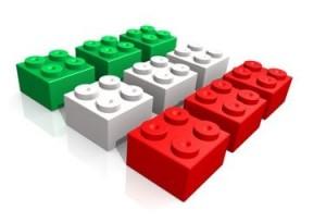 bandiera italiana realizzata con blocchi lego